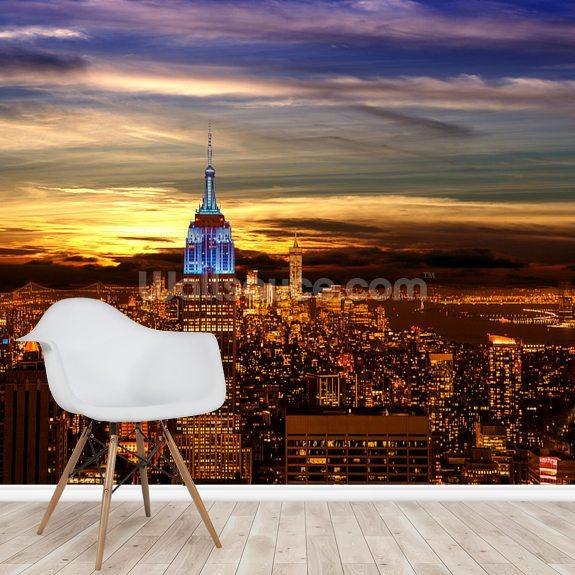 New York City Skyline Night Empire State Building Twilight Sky Wallsauce It
