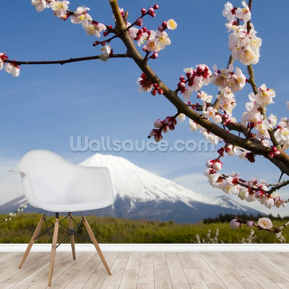 Mount Fuji mural wallpaper room setting
