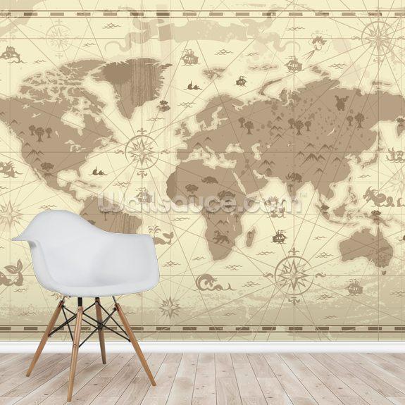Ancient World Map Mural Wallpaper Room Setting