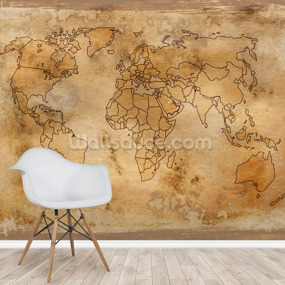 Old Map wall mural room setting