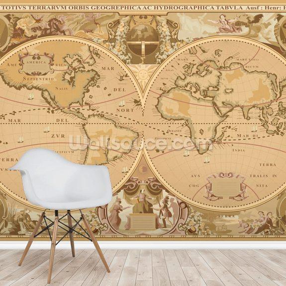 Antique World Map Wallpaper Mural Room Setting