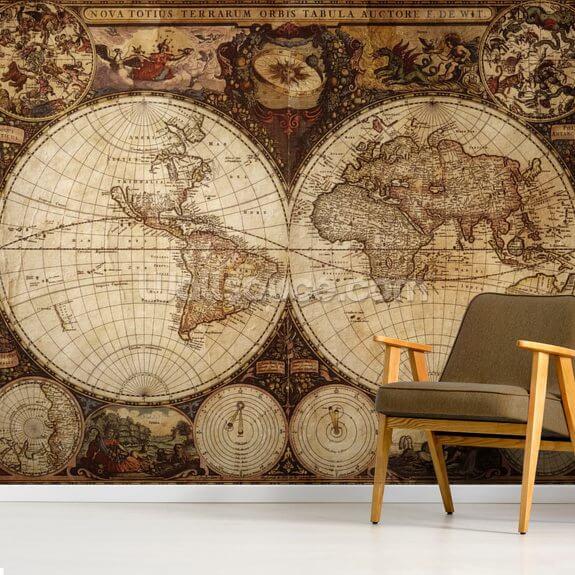 vintage world map wallpaper mural wallsauce usvintage world map mural wallpaper room setting