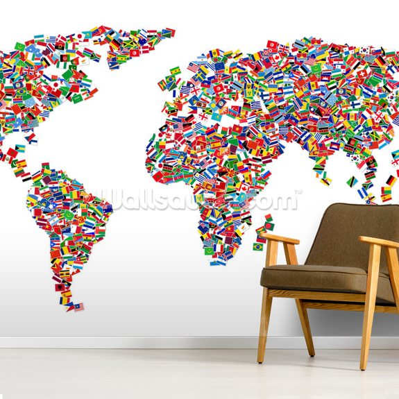 World Map of Flags wall mural room setting
