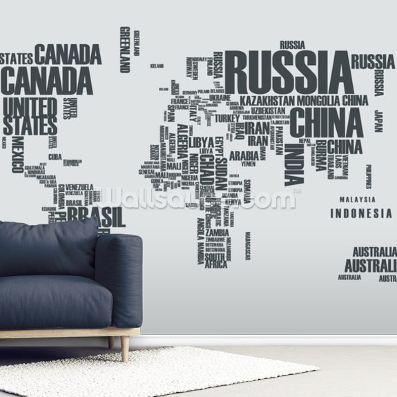 World Map Word Cloud wallpaper mural room setting