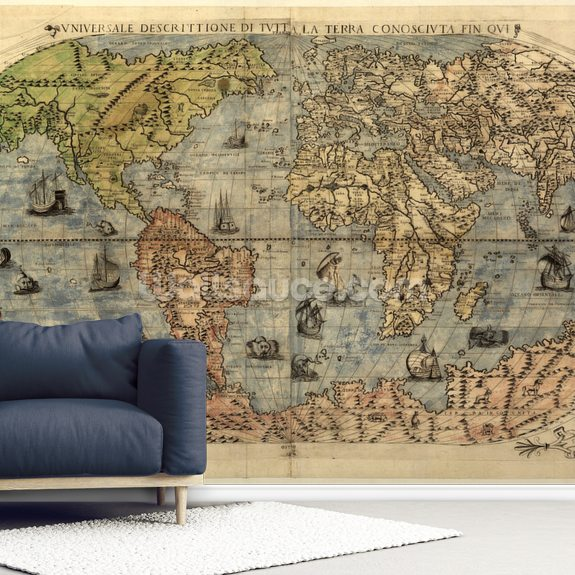 Map of Ancient World mural wallpaper room setting