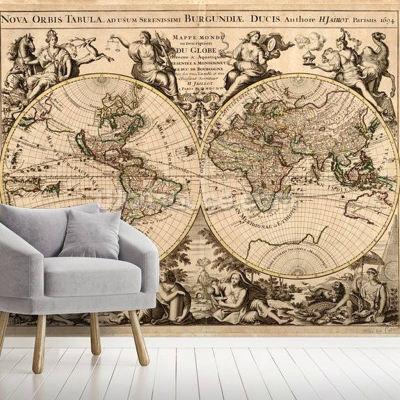High-Quality Antique Map wall mural room setting