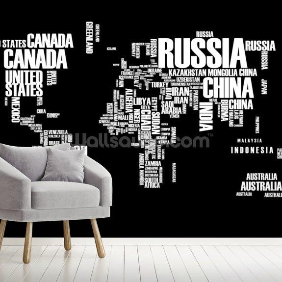 Word Cloud World Map Wallpaper Mural   Wallsauce CA