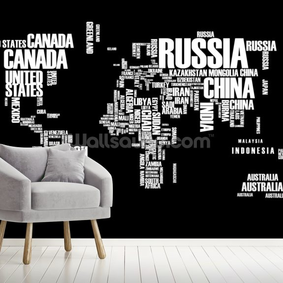 Word Cloud World Map mural wallpaper room setting