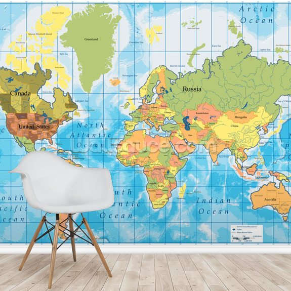 World Map mural wallpaper room setting