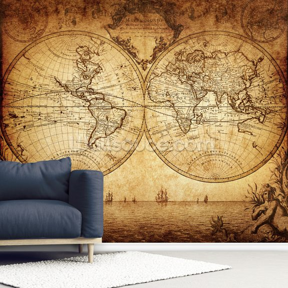 18th Century World Map wall mural room setting