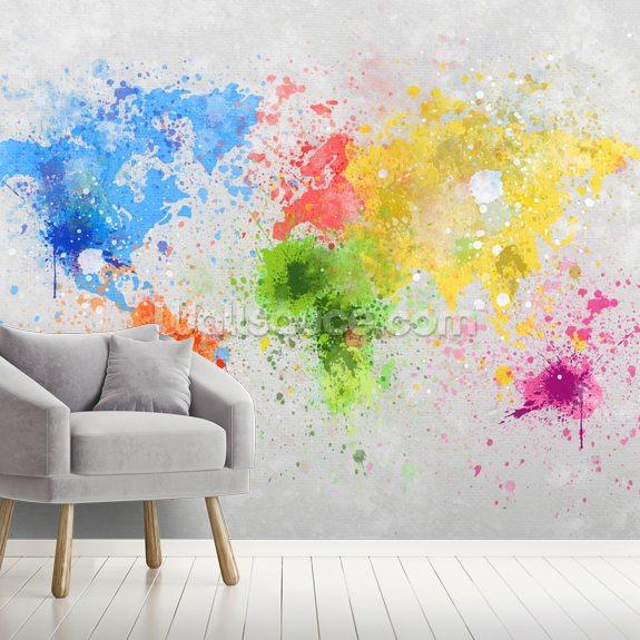 World Map Painting Wallpaper Mural Wallsauce Eu