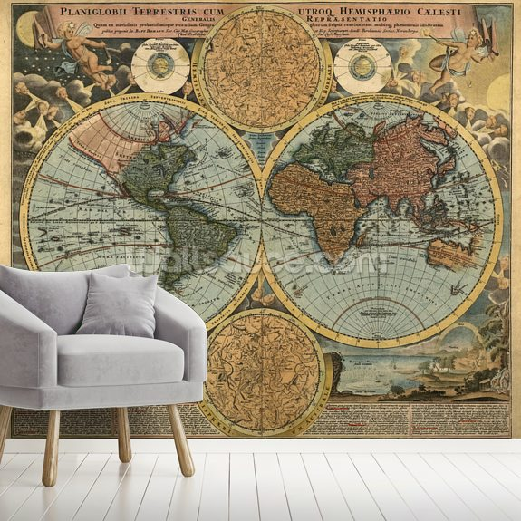 Ancient Map mural wallpaper room setting