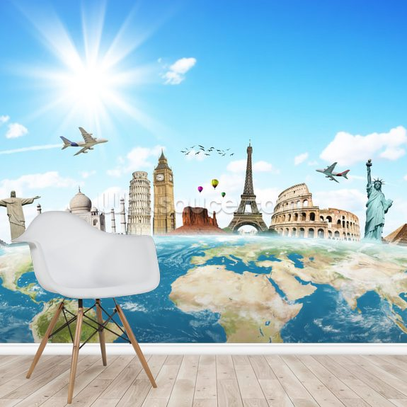 Monuments of the World wallpaper mural room setting