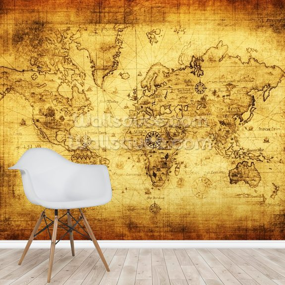 Ancient map of the world mural wallpaper room setting