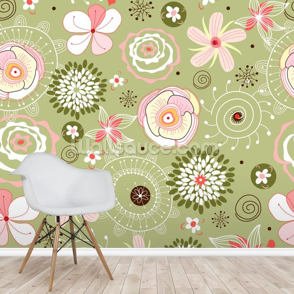 Flower Seamless Pattern wall mural room setting