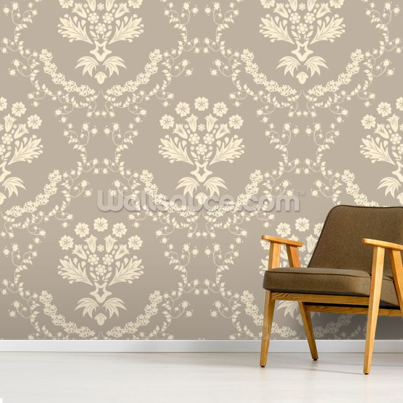 Damask - Dark wall mural room setting