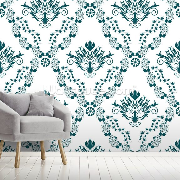 Damask - Green mural wallpaper room setting