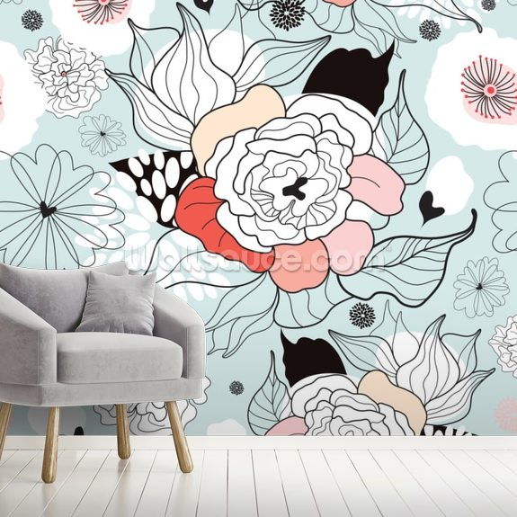 Illustrated Summer Flowers wall mural room setting