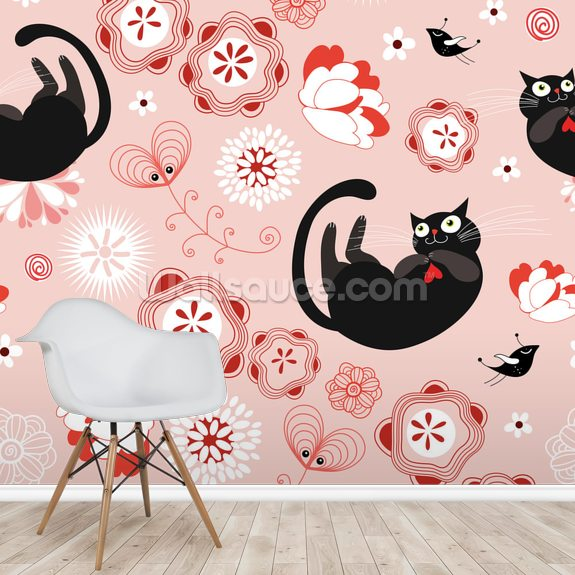 Floral - Cats and Flowers mural wallpaper room setting