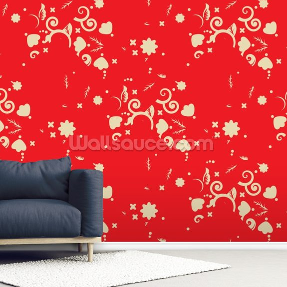 Floral - Red and Gold wallpaper mural room setting