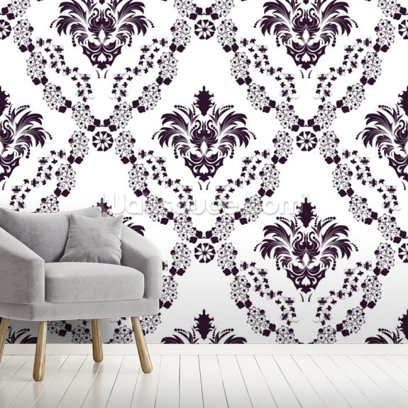 Damask - Blue wall mural room setting