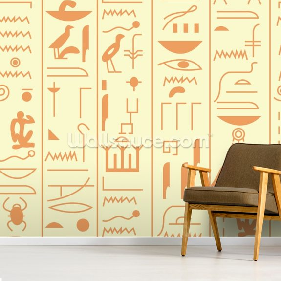 Hieroglyph illustration mural wallpaper room setting
