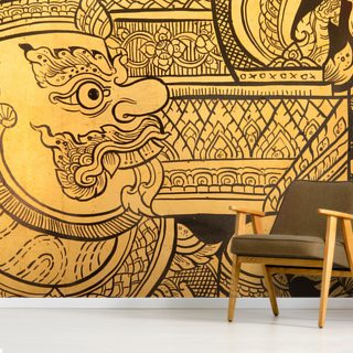 Traditional Thai style painting. Wallpaper Wall Murals