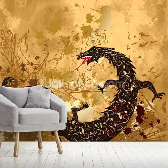 Dragon on a background grunge mural wallpaper room setting