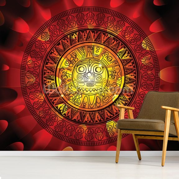 Maya Calendar wallpaper mural room setting
