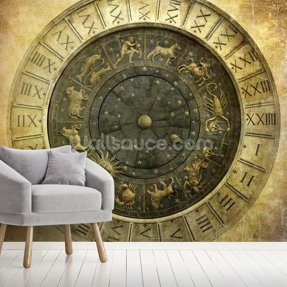 Vintage image of Venetian clock mural wallpaper room setting