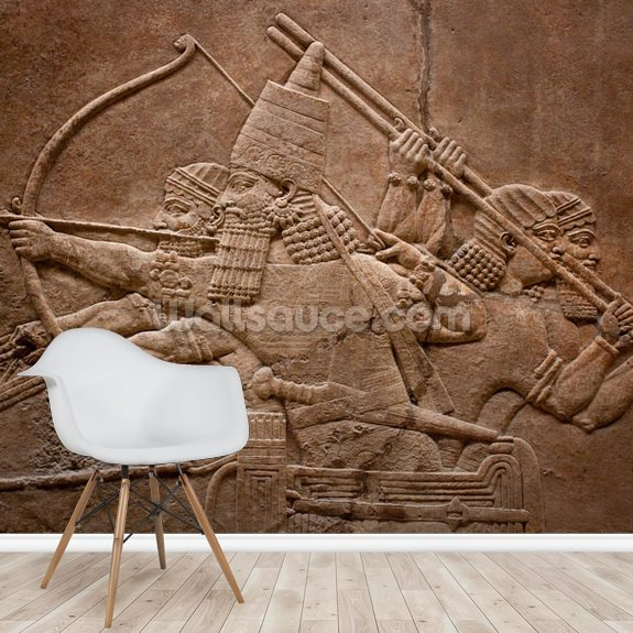 Assyrian Warriors wallpaper mural room setting