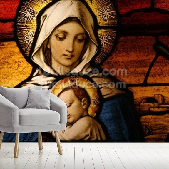 Virgin Mary Holding Baby Jesus wall mural room setting