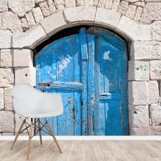 Wooden blue door in Madaba