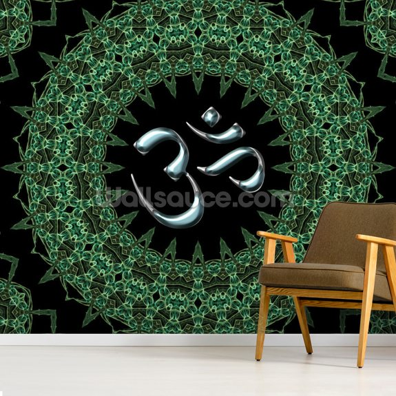 Fractal mandala aum mural wallpaper room setting