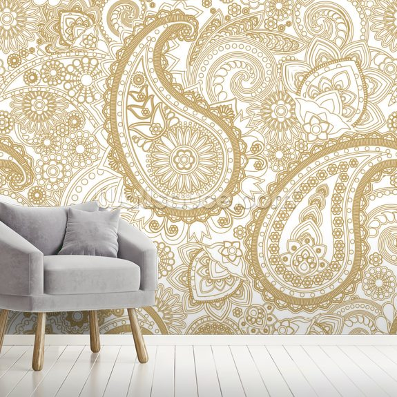 Paisley wallpaper mural room setting