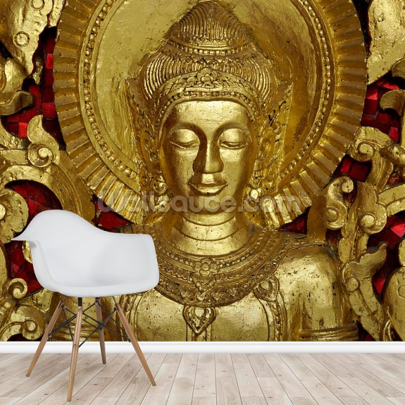Buddha Carving wall mural room setting