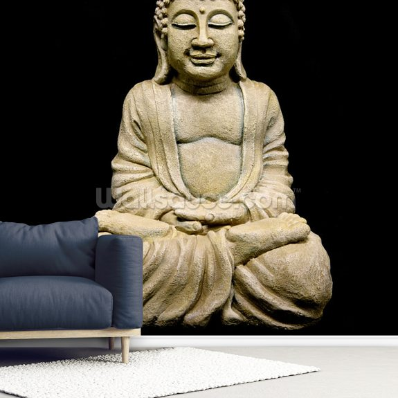 Stone Buddha wall mural room setting