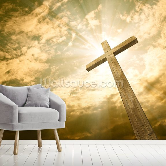 Cross Against the Sky mural wallpaper room setting