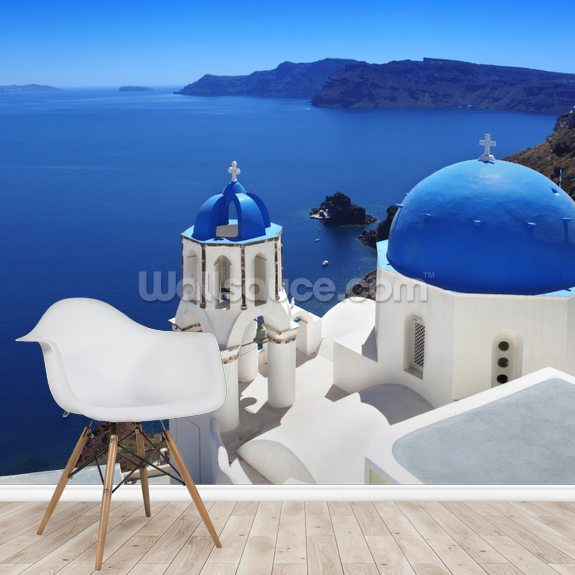 Santorini with Traditional Church in Oia, Greece wallpaper mural room setting