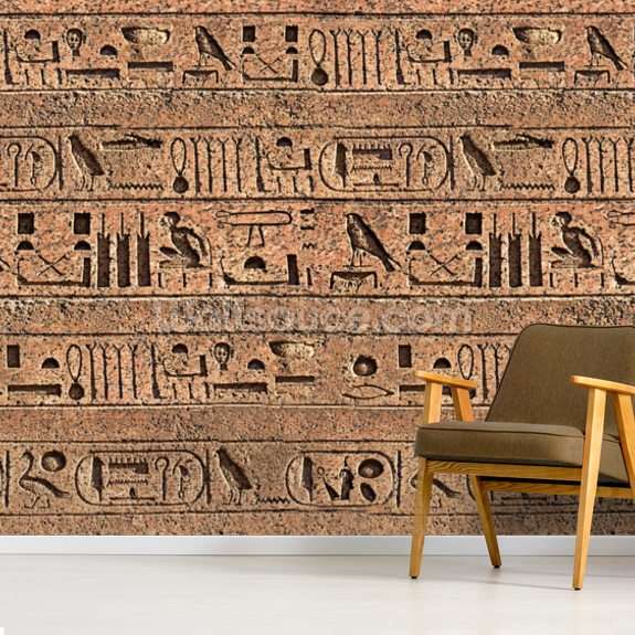 Hieroglyphs mural wallpaper room setting