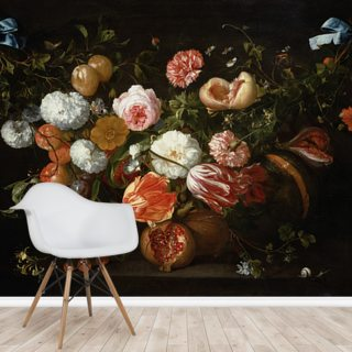 A Garland of Flowers (oil on canvas) by Jan Davidsz de Heem
