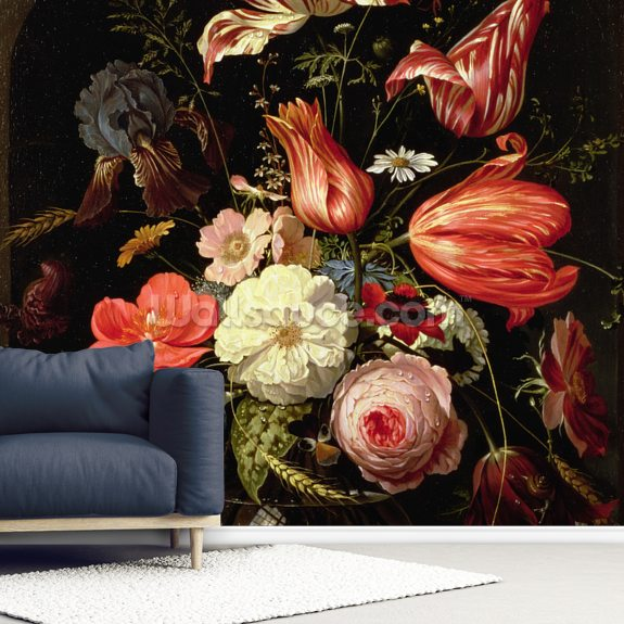 Still Life of Flowers on a Ledge, by Abraham Mignon mural wallpaper room setting