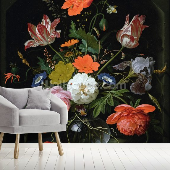 Still Life of Flowers in a Glass Vase (oil on canvas), by Abraham Mignon mural wallpaper room setting