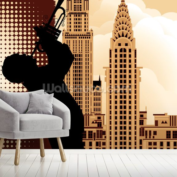 Jazz in New York mural wallpaper room setting