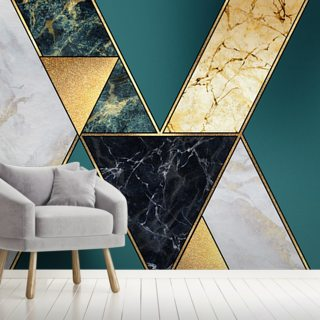 Teal and Gold Geometric
