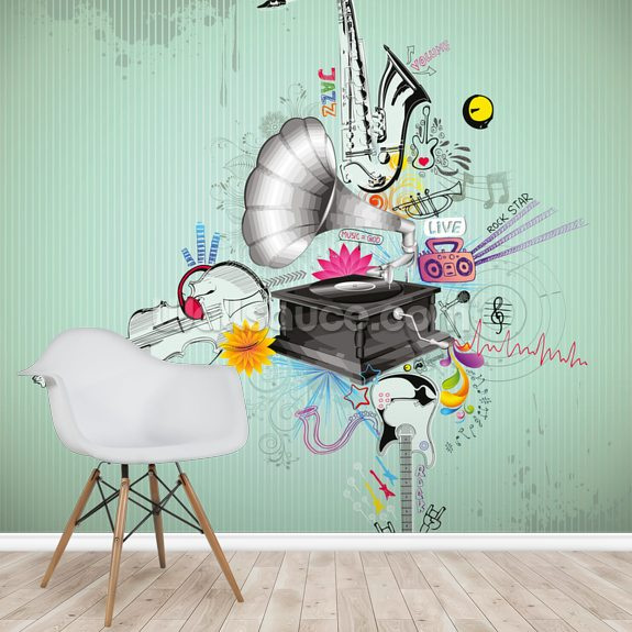 Gramophone wallpaper mural room setting