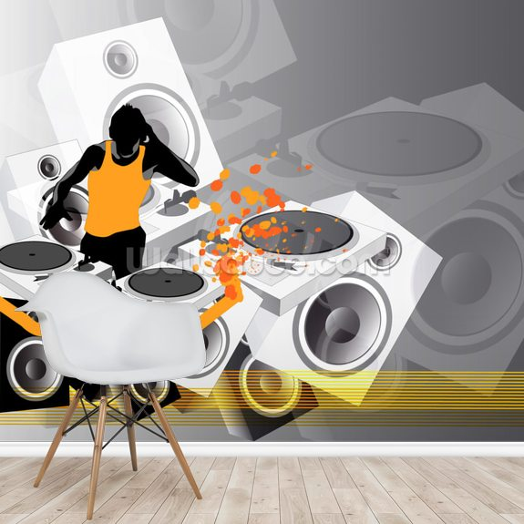 DJ Music wall mural room setting