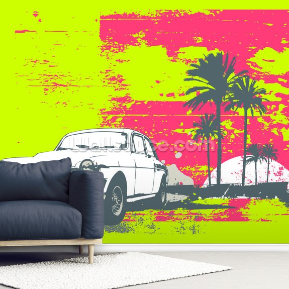 Retro Car wall mural room setting