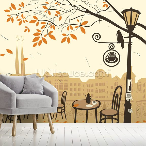 Street Cafe wallpaper mural room setting