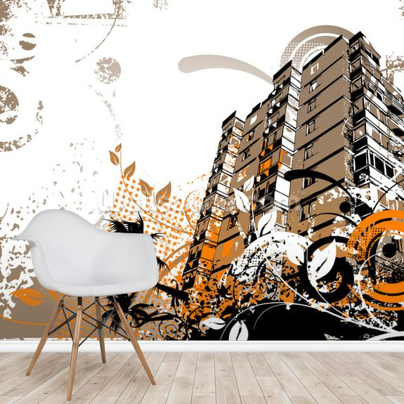 Urban Music wall mural room setting